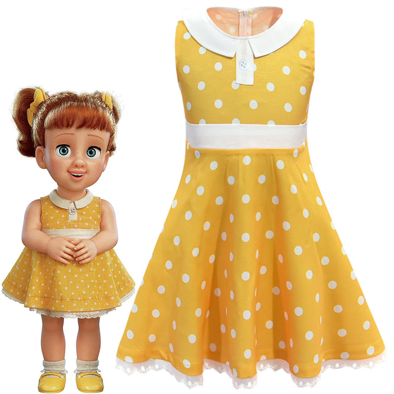 Movie Toy Story 4 Yellow Wave Point Dress Cosplay Costume Toy Story  Cosplay Halloween Costumes Kids Girl Dance Party Dress