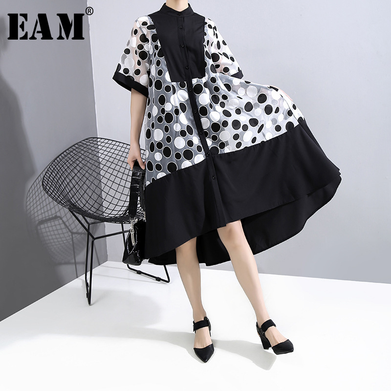 [EAM] Women Dot Printed Mesh Big Size Two Piece Dress New Stand Collar Half Sleeve Loose Fit Fashion Spring Summer 2020 1T863