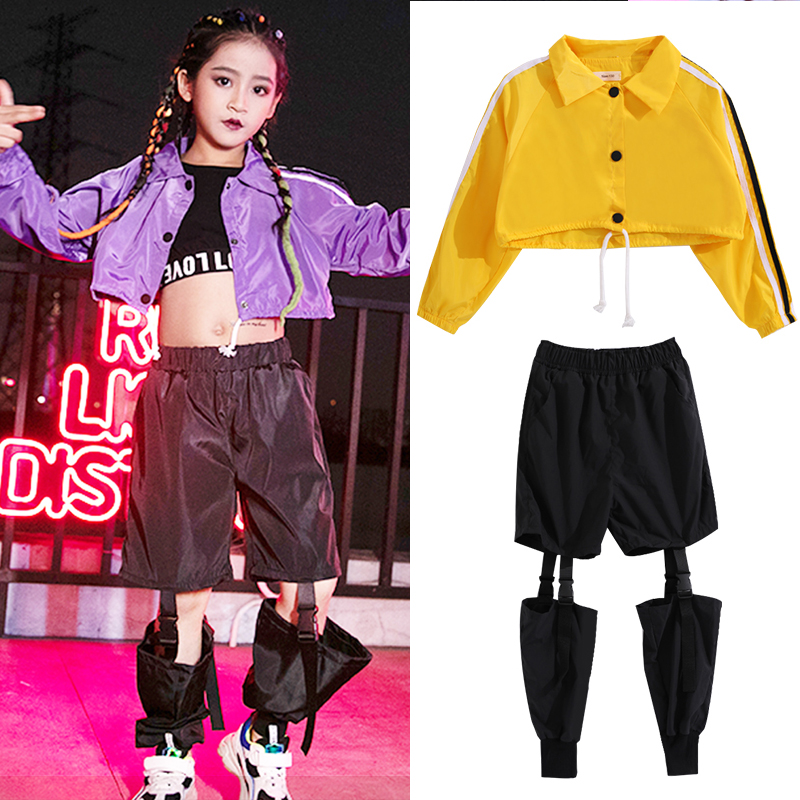 Girls Clothing For Hip Hop Kids Stage Dance Wear Navel Top Showgirl Costume Street Wear Ropa Hip Hop Jazz Rave Clothes Children