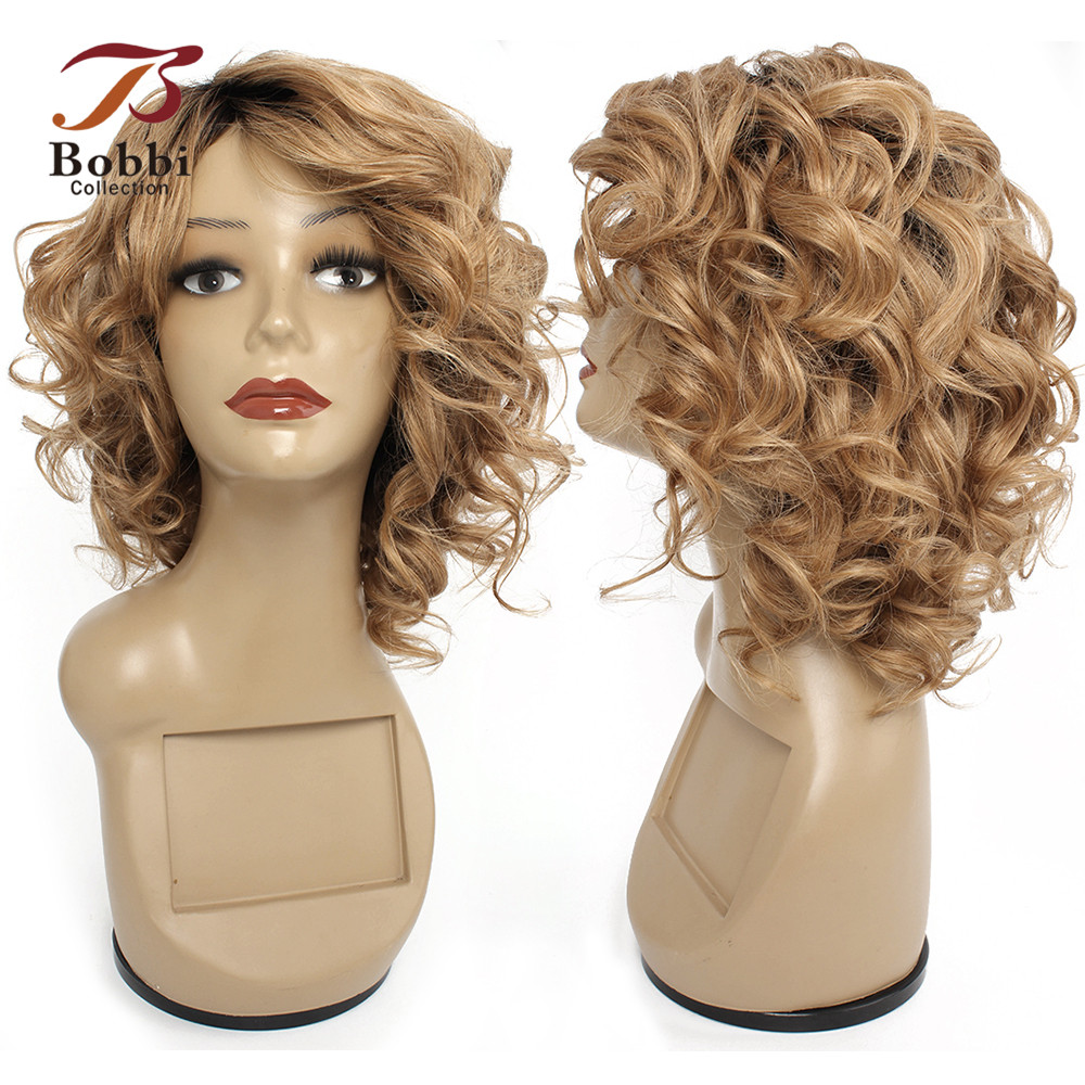Bobbi Collection Human Hair Wigs Machine Made Wig Ombre Honey Blonde Burgundy Romance Curl Short Cheap Wig Indian Non-Remy Hair