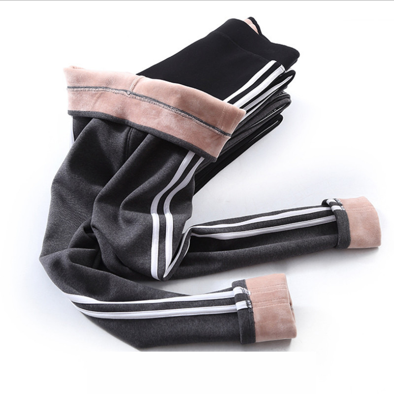 Baumwolle Samt Leggings Frauen 2019 Herbst Winter Side Stripes Sporting Fitness Leggings Hosen Warme Starke Leggings Hohe Qualität