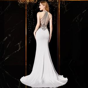 Image 2 - J18560 jancember sexy mermaid evening dress 2020 halter neck sleeveless beading lace silver evening dresses long vestido mujer