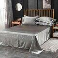 Atacado 100% cetim de seda branco 1 pcs folha plana de seda rainha rei lençóis de cama