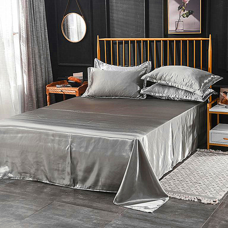 Wholesale 100% Satin Silk White 1PCS Flat Sheet Silky Queen King Bed Sheets Women Men