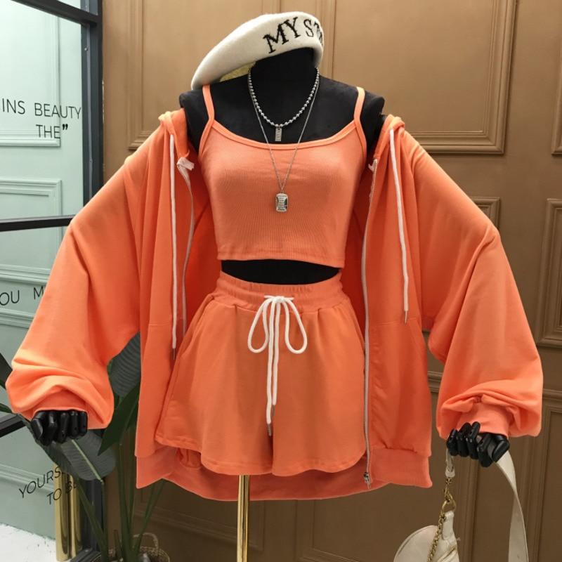 Orange 3 Shorts Set Camis + Hooded Cardigan Sweatshirt +lace Up Drawstring Wide Leg Shorts 3 Piece Set Tracksuit 5 Colors
