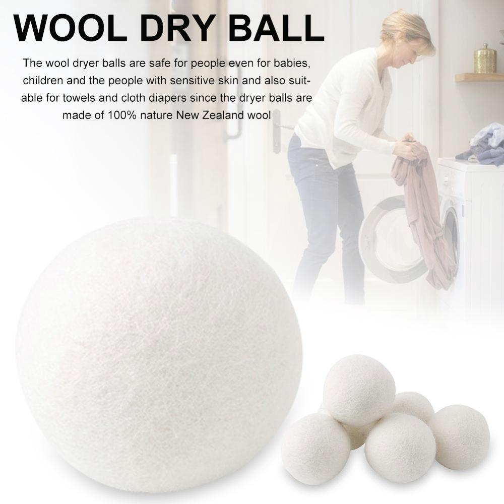 6 sztuk organiczne hipoalergiczne wełniane kulki do suszenia, 100% Premium wełna wielokrotnego użytku, naturalna tkanina zmiękczacz piłki do prania Dry Ball