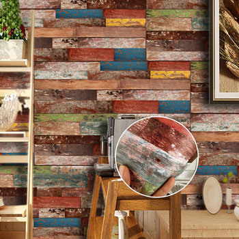 Wood Grain Pattern 3D Wall Sticker Living Room Bedroom Background Home Decoration Thick Glued Splicing Wallpaper Stickers Mural