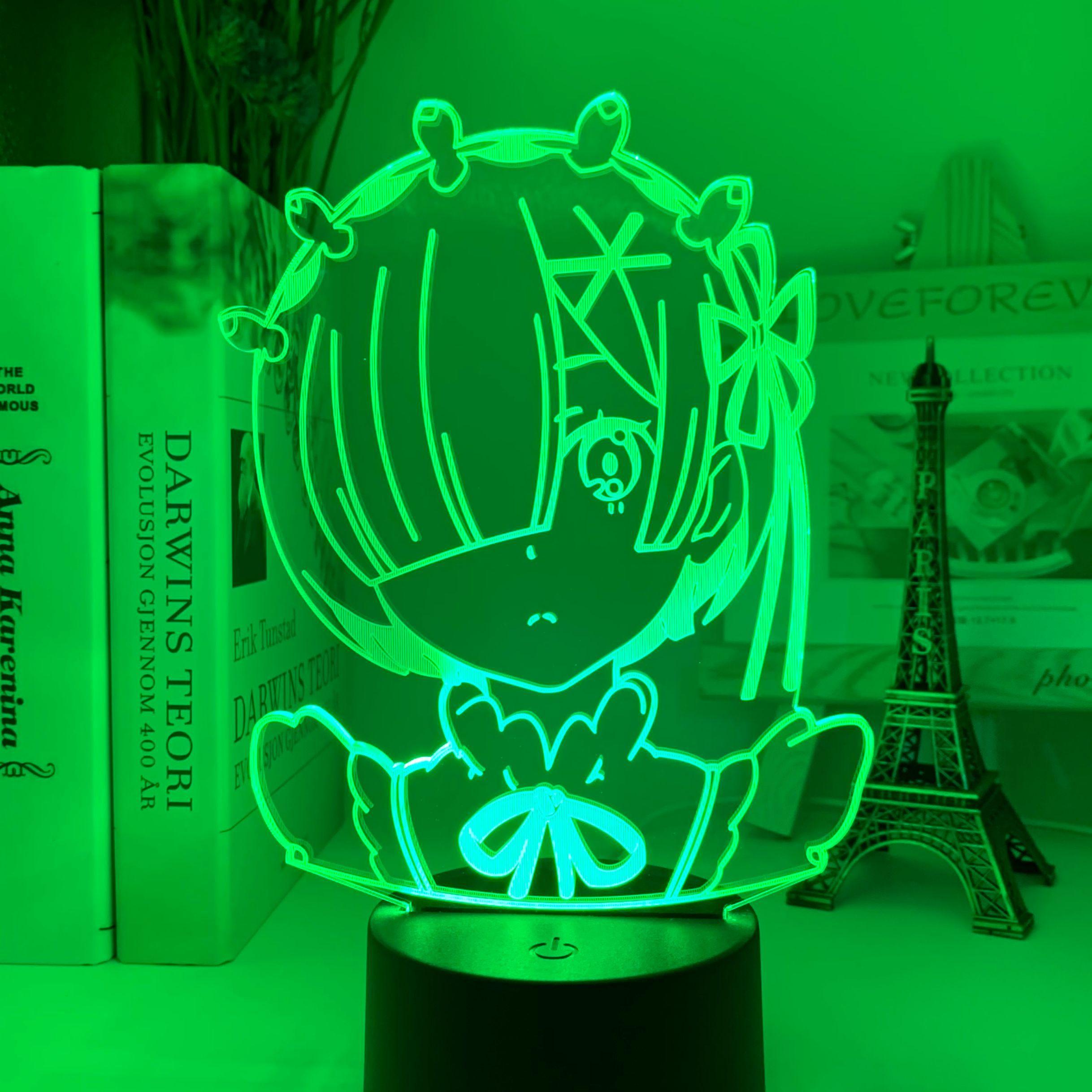 H9b02f6be96754c1a8764af4355e1c31ez Luminária Anime rem re zero starting life in another world figura luz da noite led sensor de toque mudança cor do bebê nightlight para decoração do quarto lâmpada mesa 3d manga presente