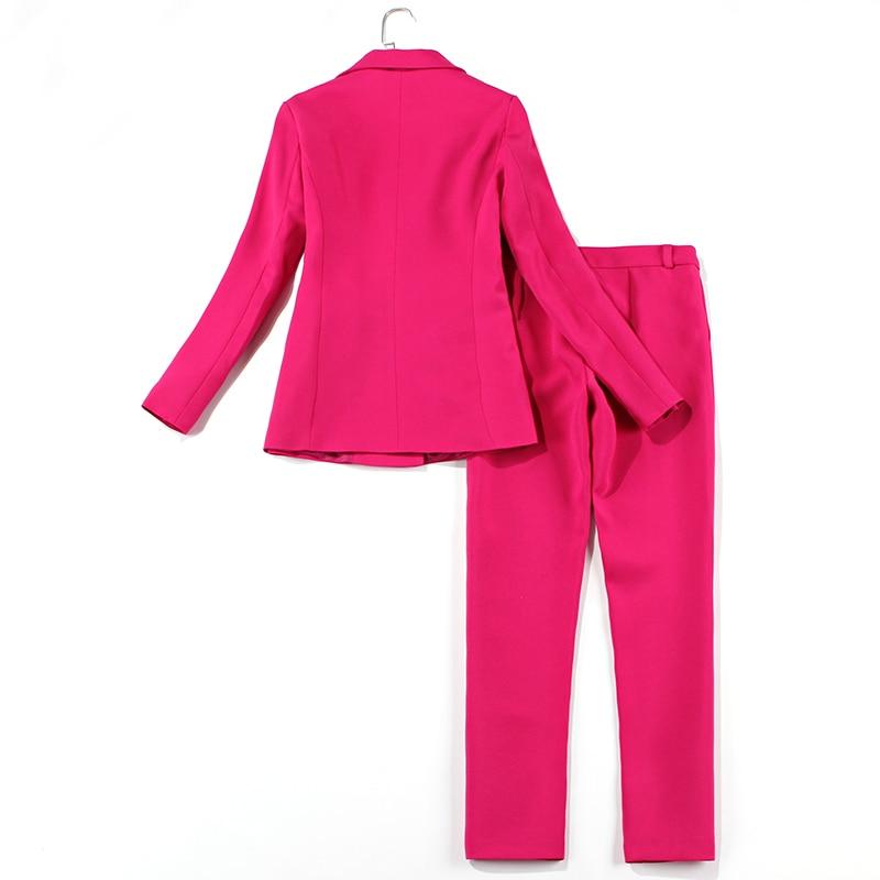 Purple Professional  Women Suit Spring Autumn Slim Single Breasted Lady Set 2 Piece Set Suit Women's Pantsuit Customi Made