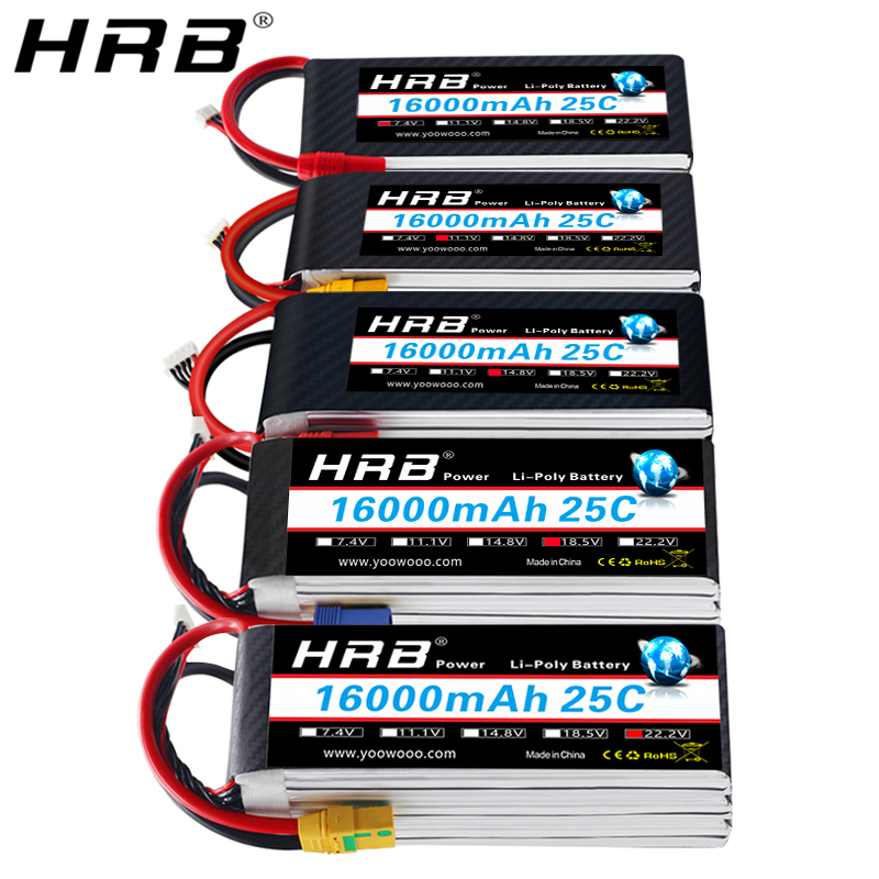 HRB 16000mah Lipo Battery 7.4V 11.1V 14.8V 18.5V 22.2V T Deans XT60 XT90 EC5 Quadcopter Airplane Heli RC Parts 1S 2S 4S 5S 6S 3S