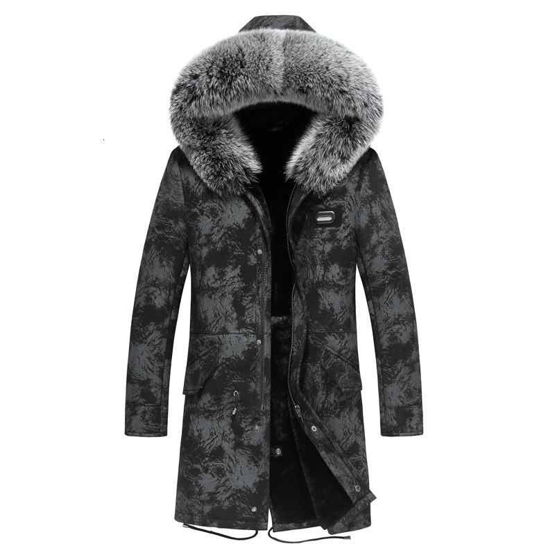 Leather Jacket Men Real Fur Coat Winter Jacket Men's Parka Sheep Shearling Genuine Leather Coat Jaqueta De Couro XZ18C999 YY691