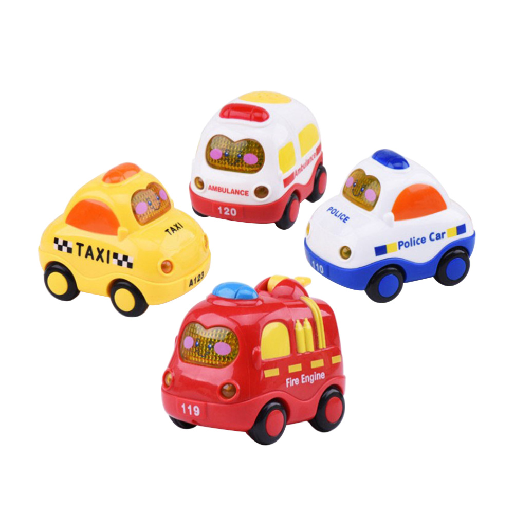 4pcs Friction Car Push and Go Car Mini Powered Play Vehicles with Screen Button for Light and Music Educational Toys