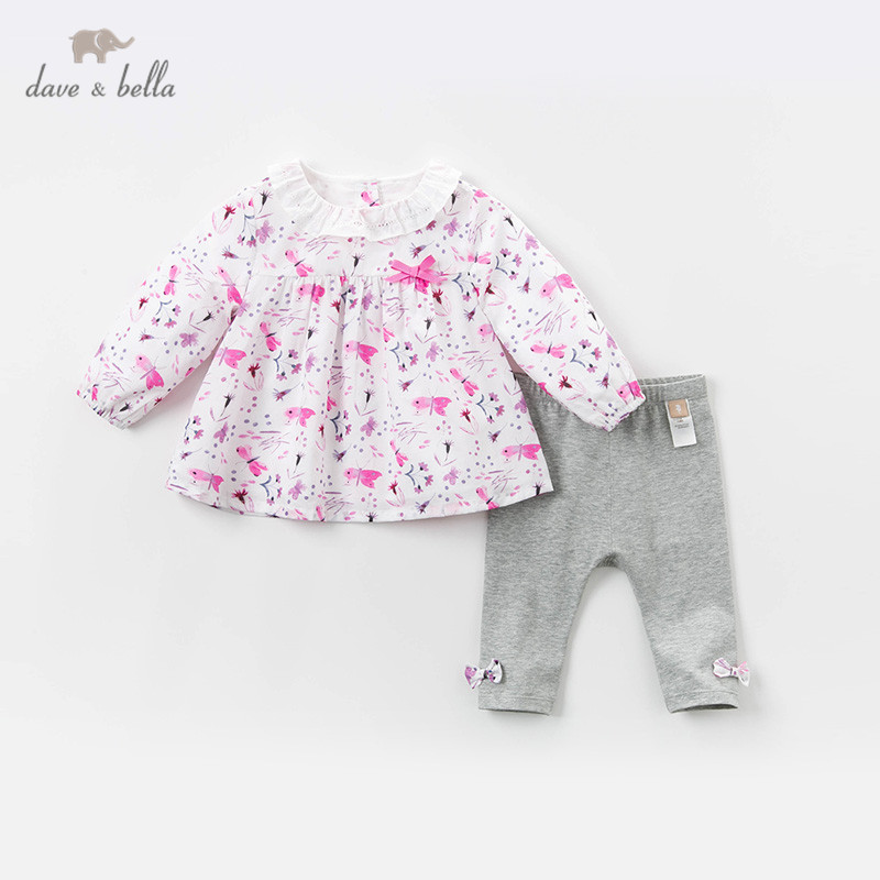 DBM13514 dave bella spring baby girls fashion bow cartoon print clothing sets kids cute long sleeve sets children 2 pcs suit