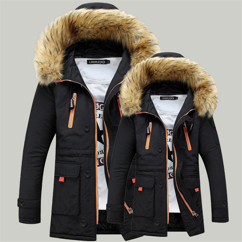 AliExpress Men Winter New Style Cotton-padded Clothes Large Fur Collar Hooded Cotton Coat Mid-length Zip-up Jacket Large Size