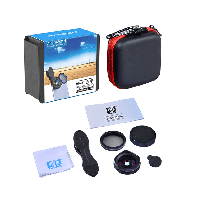 APEXEL Pro Kamera Objektiv Kit 16mm 4K Weitwinkel Objektiv  6