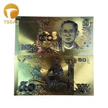 10 шт Таиланд 24 к Золотая фольга банкноты 50 батов покрытые поддельные тайские банкноты для сувенира