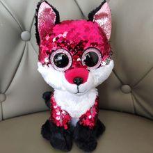 Реверсивные блестки драгоценность лиса 15 см большие глаза Плюшевые игрушки Мягкие животные Рождественский подарок детские мягкие игрушки