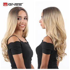 Image 5 - Wignee Middle Part Ombre Blonde Long Wavy Hair Synthetic Wig For Women Natural Heat Resistant Daily/Party Fiber Natural Hair Wig