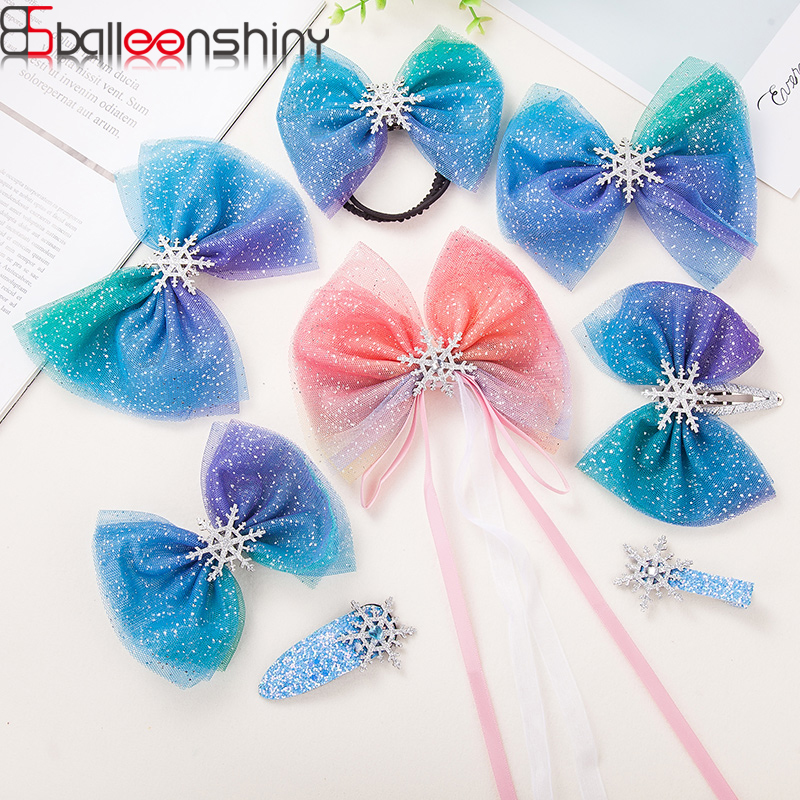 BalleenShiny Baby Crystal Crown Bowknot Hairpins For Kids Girls Princesses El-sa Hair Band Frozen Hair Clips Head Accessories