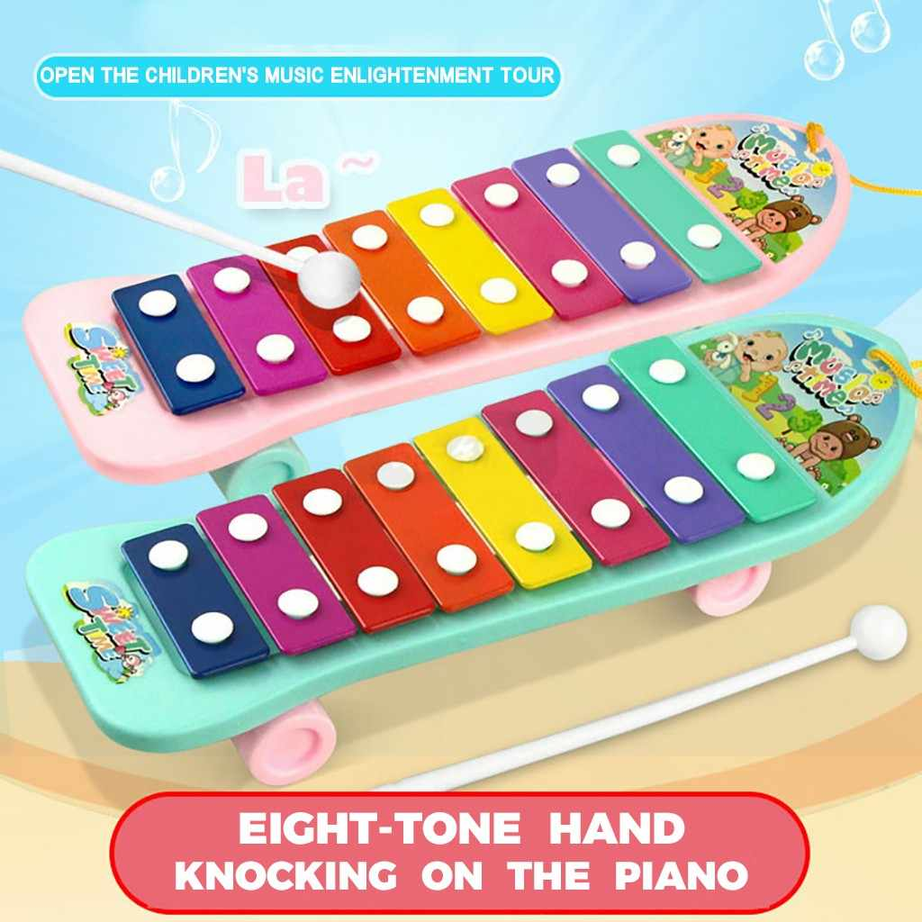 Baby Kid 8 Note Xylophone Musical Toys Development Music Notes Hand Knock Piano Wheel Toddler Puzzle Game Wholesaling Dropship