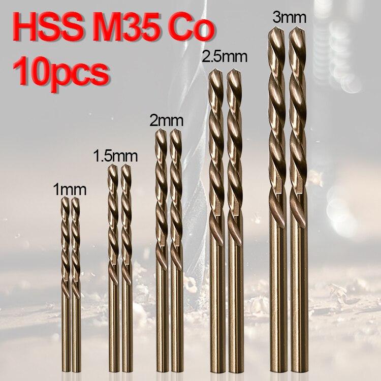 10pcs/Set Twist Drill Bit Set HSS M35 Co Drill Bit 1mm 1.5mm 2mm 2.5mm 3mm Used For Steel Stainless Steel