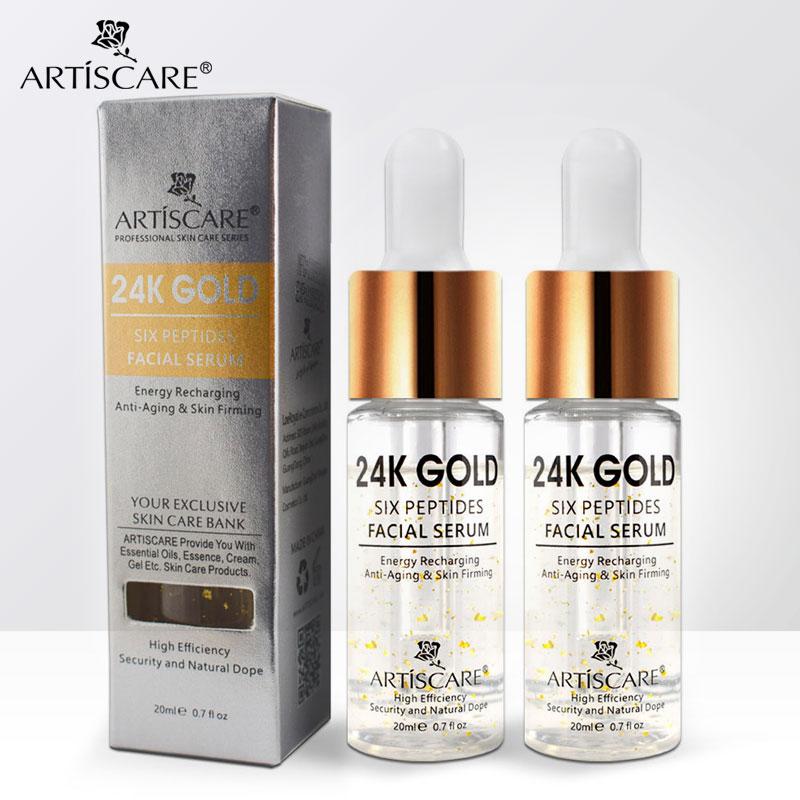 ARTISCARE 24k oro seis péptidos suero para rostro esencia 20ml de ácido hialurónico suero Anti envejecimiento Facial y blanqueamiento cuidado de la piel 2 uds|Suero| - AliExpress