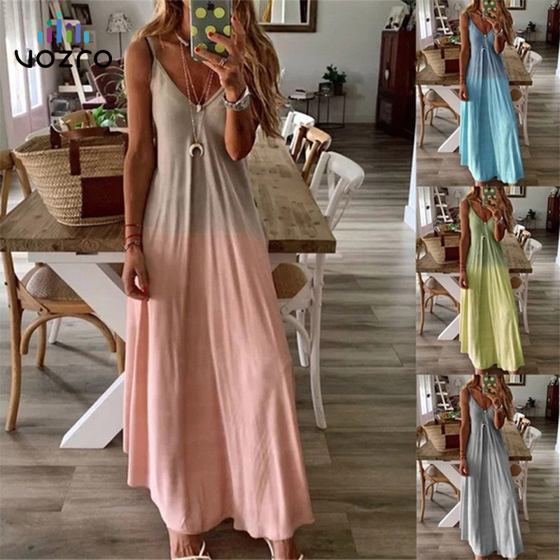 VOZRO Suit-dress V Lead Sexy Sleeveless Longuette Camisole Maxi Party Long Autumn Dress Women Vestido Dresses Clothes Vintage