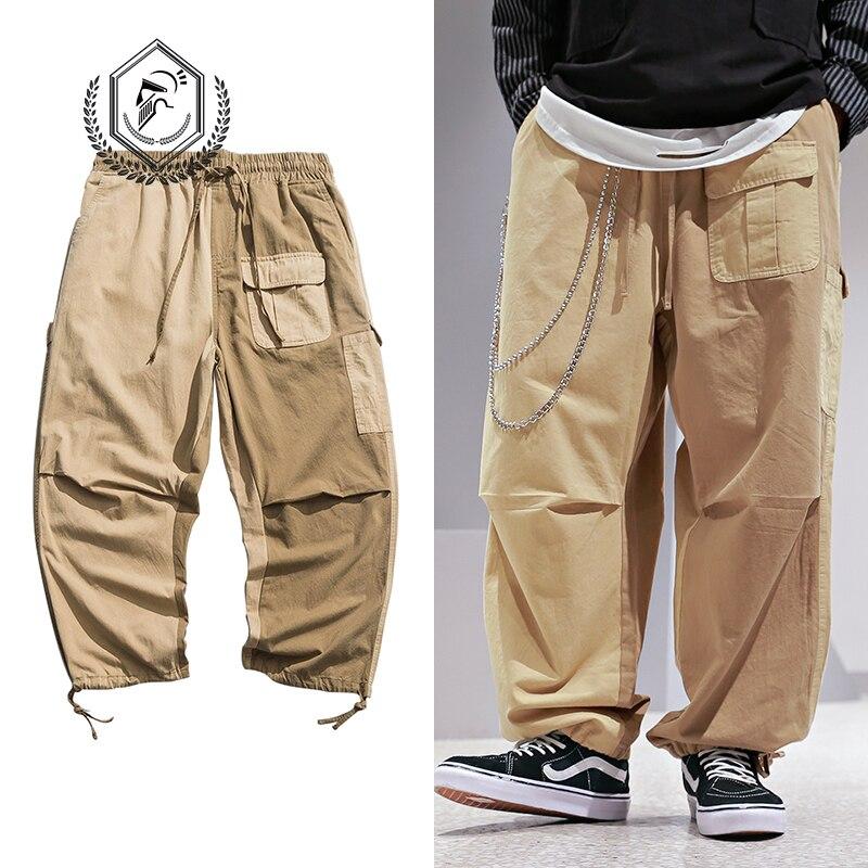 Men Loose Safari Style Harem Jogger Pants Fashion Pockets Ankle-Length Hip Hop Pants