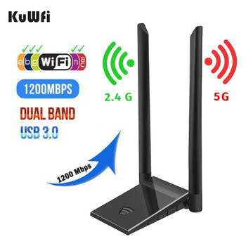 KuWFi USB 3 0 Adapter Wifi 1200Mbps PC Wi fi odbiornik 2 4G i 5 8G RTL8812BU antena USB Ethernet Lan Adapter Wifi z 2 * 5dBi tanie i dobre opinie 1000 mbps NONE CN (pochodzenie) Zewnętrzny wireless 1000 m ethernet Pulpit 802 11n 802 11ac USB3 0 2 4G i 5G 1200 mbps