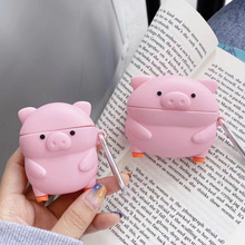 3D Earphone Case For Airpods Pro Case Silicone Cartoon cute Pink pig Headphone/Earpods