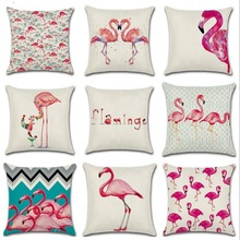 45*45cm Watercolor Tropical Flamingo Cushion Cover Decorations Party Wedding for Home