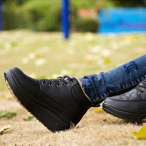 Image 4 - كاوكوم الربيع عالية متابعة أحذية قطنية جلدية الروك أحذية نسائية سميكة سوليد الترفيه تنفس احذية الجري CYL