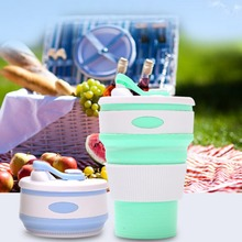 12oz Portable Foldable Coffee Cup Food-grade Silicone Milk Drinking Mugs With Lid Collapsible Water Cups For Home Office
