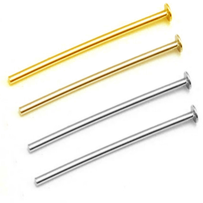 50pcs/lot Stainless Steel Gold Steel Color T Word Head Pins Length20 30 45 50mm Earring Bracelets Jewelry Findings Accessories