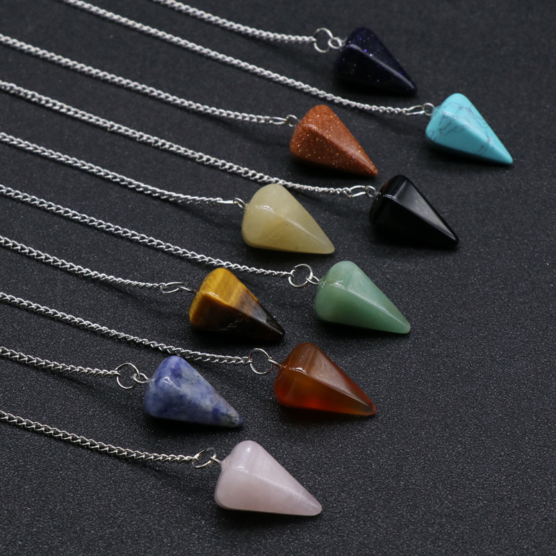 Natural Clear Rock Crystal Hexagon Turquoise Pendulum Reiki Quartz Stone Pendant