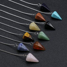 Fashion Reiki Pendulum Natural Stone Amulet Healing Crystal Pendant Meditation Hexagonal Pendulums for Men Women Stone Jewelry(China)