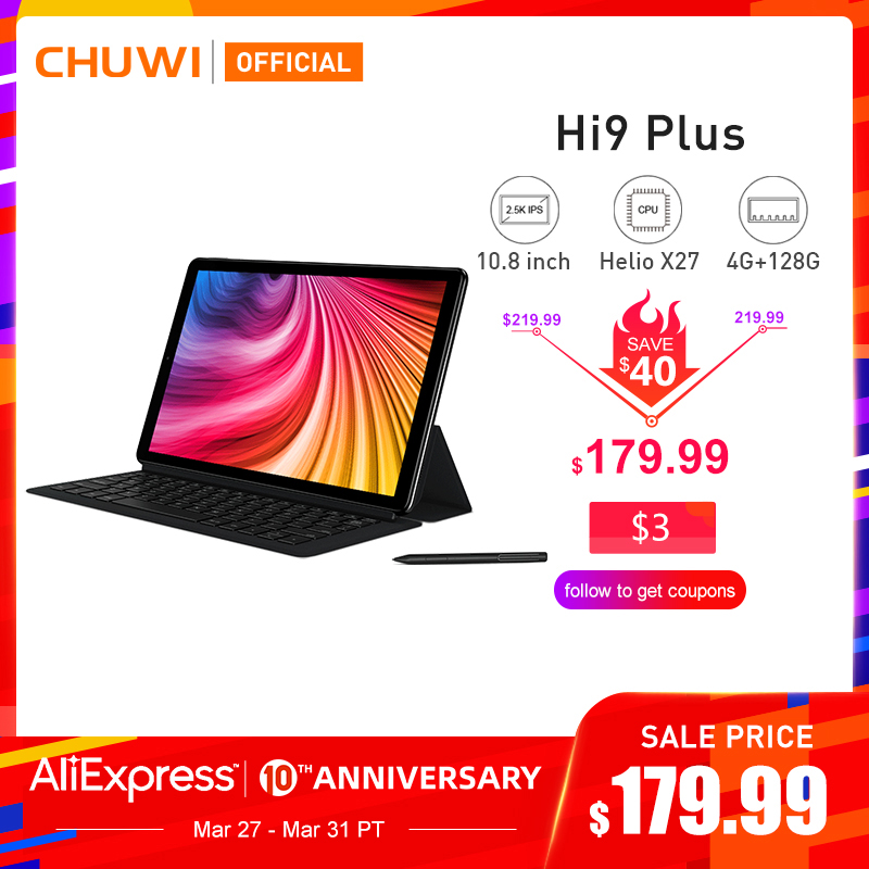 CHUWI Hi9 más Helio X27 Deca Core Android 8,0 Tablet PC 10,8