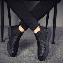 男性のファッション通気性チェルシーブーツソフトレザーシューズフラッツプラットフォーム足首 botines やつブランドデザイナーボタ masculina 男性