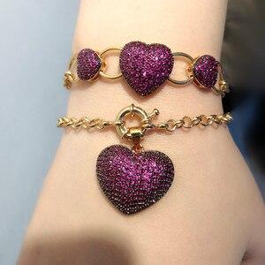 Роскошные Большие Подвески в виде сердца, очаровательные браслеты с цветным фианитом, звенья цепи, браслеты золотого цвета, богемные женски...