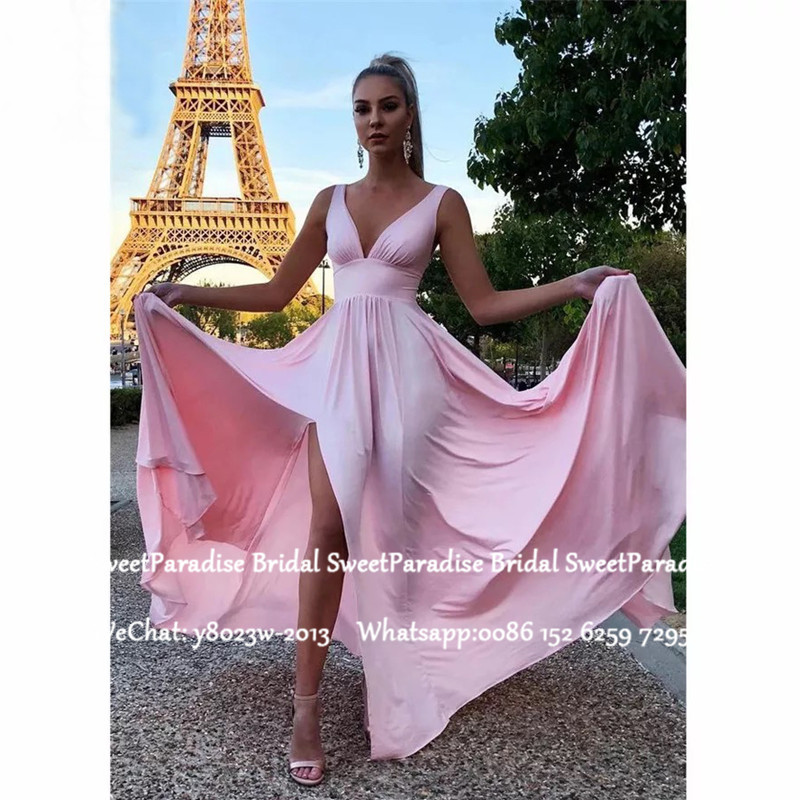 Flowing Pink Chiffon Prom Dresses Long 2020 Plunging Neck Side Split Long Formal Evening Dress For Women Vestido De Festa
