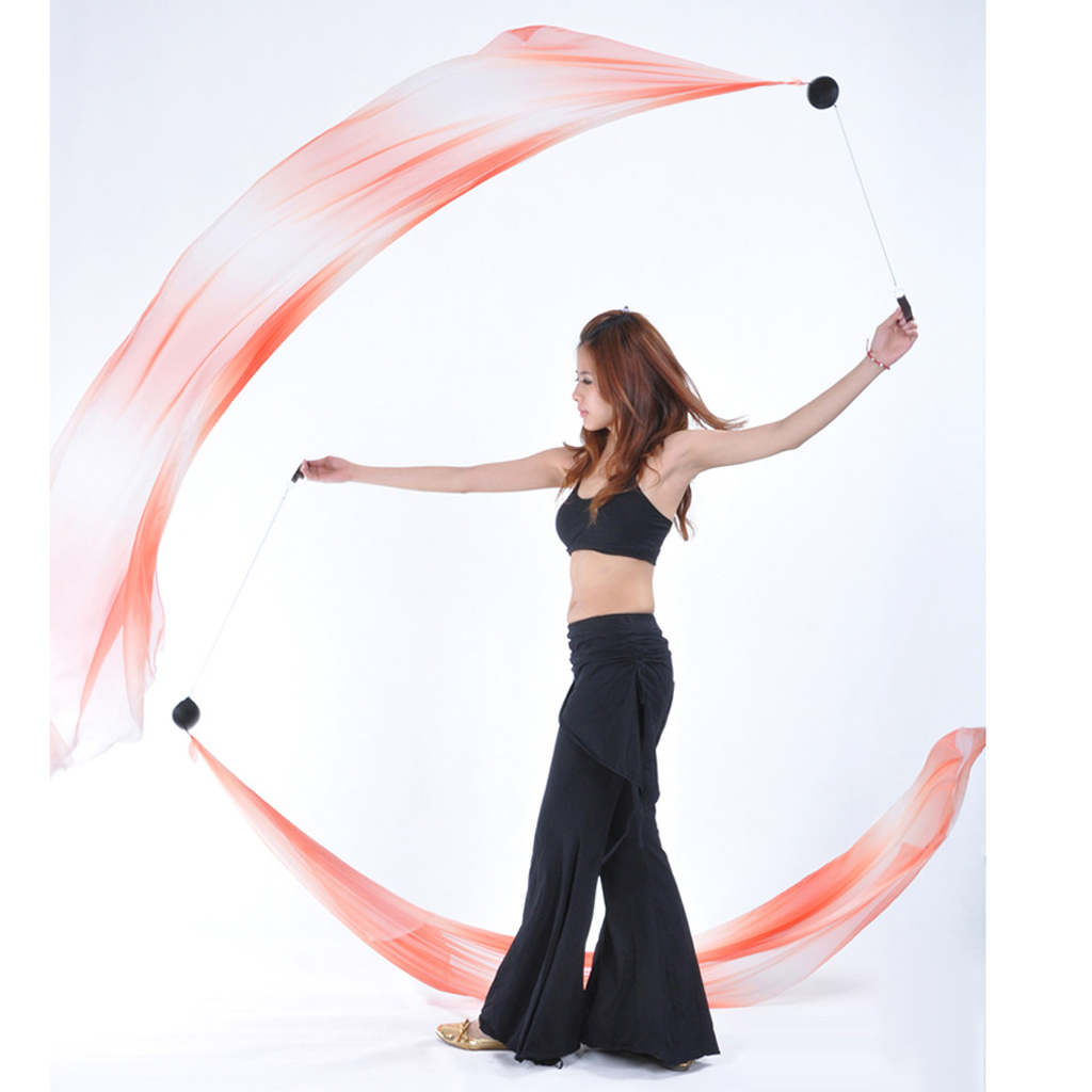 Image 5 - 4Pieces Gym Rhythmic Art  Belly Dance Silk Veil Poi Helpers Thrown Balls Adjustable Ball ChainBelly Dancing   -