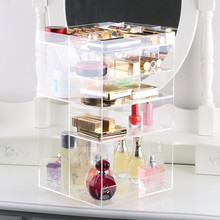 Handcraft Rotating Transparent Acrylic Cosmetics Storage Box Fashion Spin Makeup Organizer Perfume Lipstick Display Stand Rack(China)