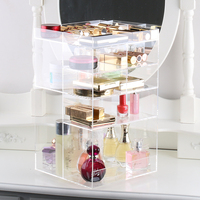 Handcraft Rotating Transparent Acrylic Cosmetics Storage Box Fashion Spin Makeup Organizer Perfume Lipstick Display Stand Rack