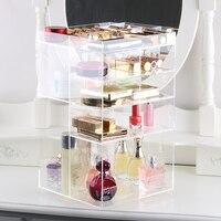 Handcraft Rotating Transparent Acrylic Cosmetics Storage Box Fashion Spin Makeup Organizer Perfume Lipstick Display Stand Rack