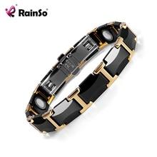 Rainso preto cerâmica tungstênio aço charme magnético cuidados de saúde link pulseiras para mulher com cor ouro ORB 216 01BKG 2020