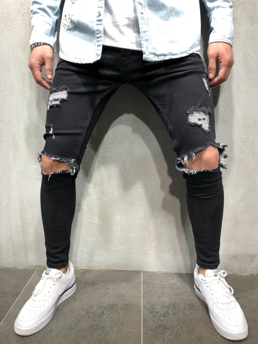 Fashion Men's Hole Jeans Black/Blue/Grey Hiphop Jeans 2
