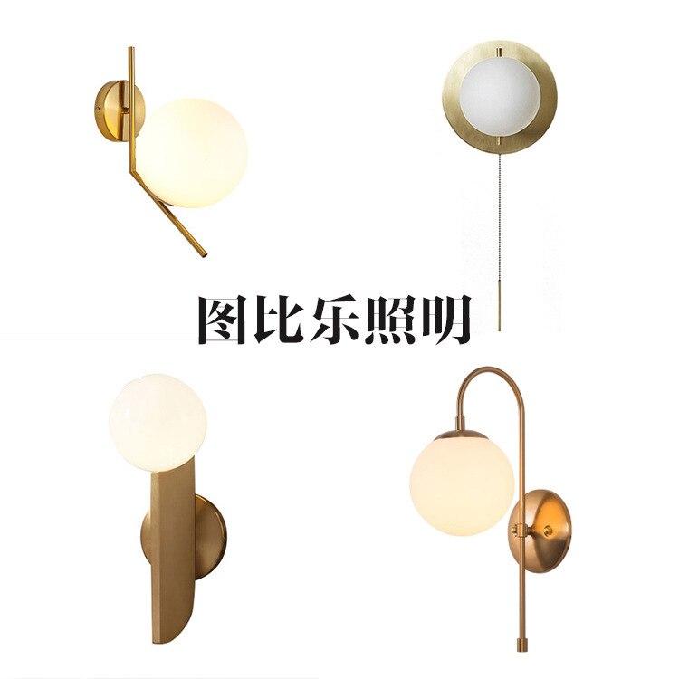 Modern Glass Ball Wall Lamp Sconce Led Bedroom Wall Light Fixture For Home Decor Nordic Foyer Living Room Corridor Luminaire E27