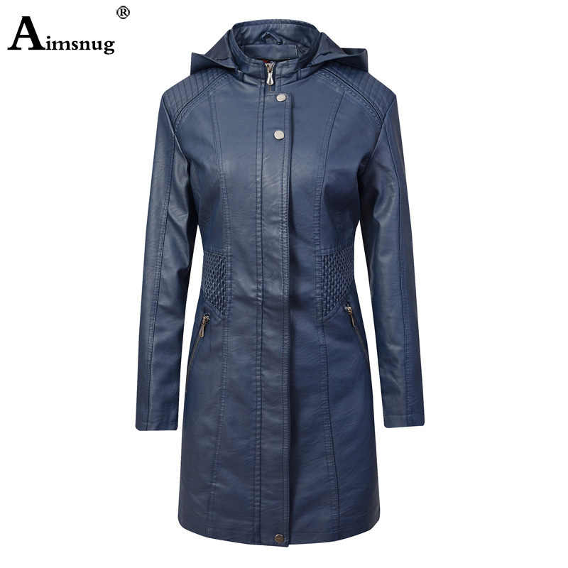 2019 Autumn PU Leather Coats Women Jackets Blue Coffee Elegant Hood Faux Leather Girls Cute Fashion Basic Long Jacket Outerwear