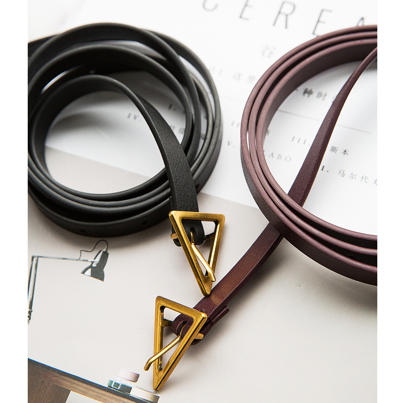 Luxury Brand Fashion Trendy Designer Belt Triangle Belts For Women Dress Party Waistband Female Gold Pin Buckle Thin Belt 0.8CM