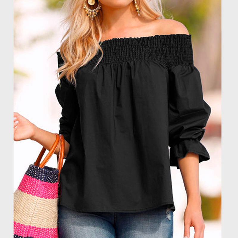 Elegant Ladies Slash Neck Blouse Shirt Casual Loose Shirt With Bow Female Chiffon Blouses Half Sleeve Shirt Womens Solid Tops